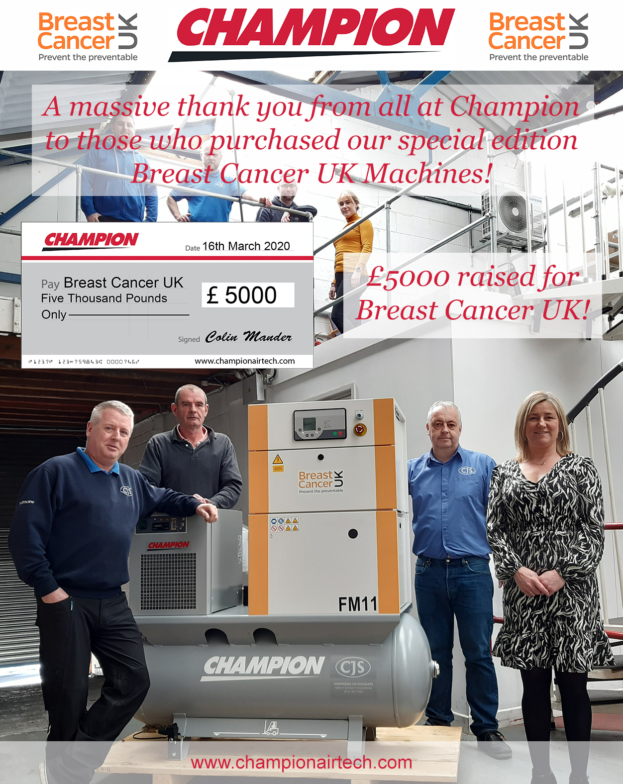 Compressor giant champions breast cancer charity, £5K cheque